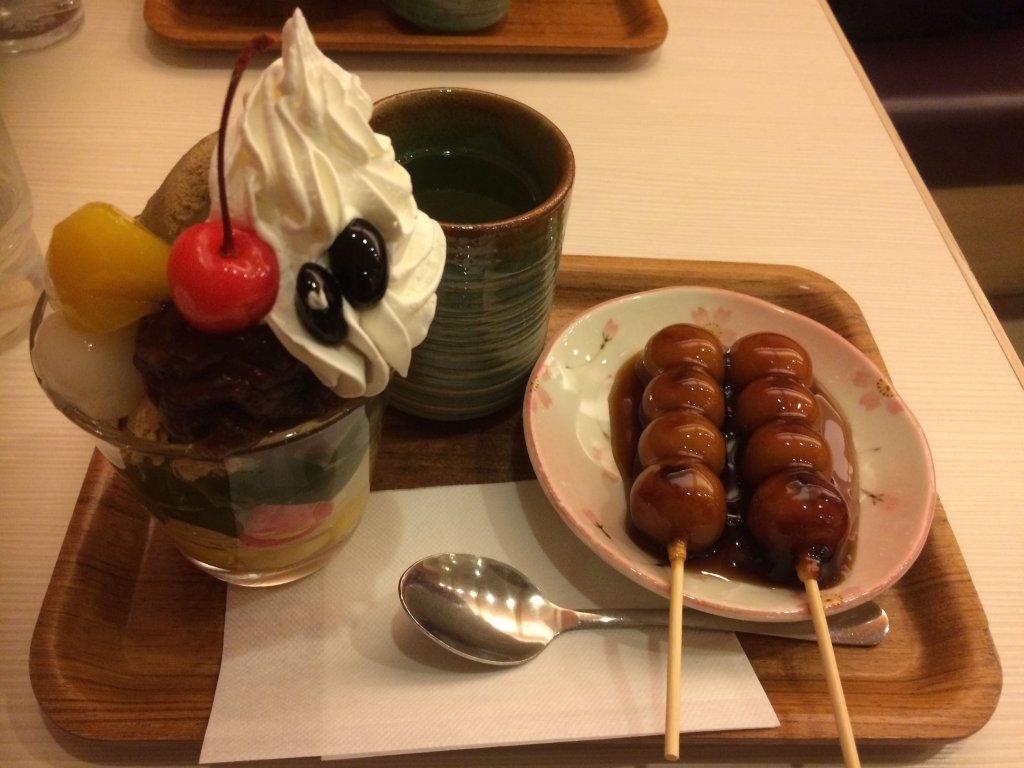 パフェ & みたらし団子 & お茶