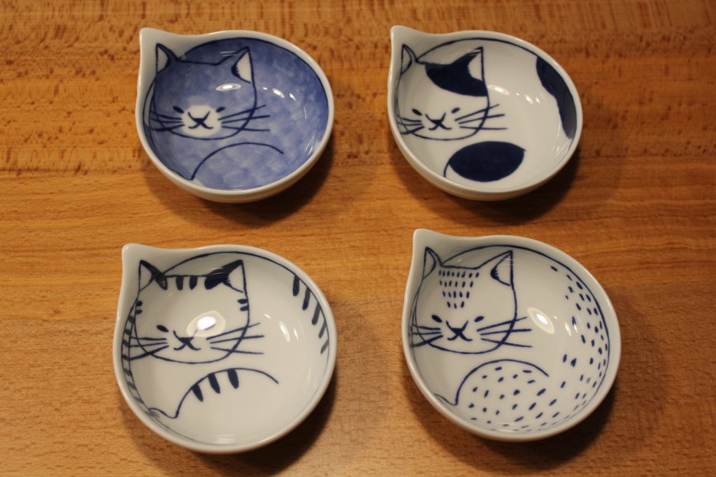 猫の小皿(5枚セット 波佐見焼)