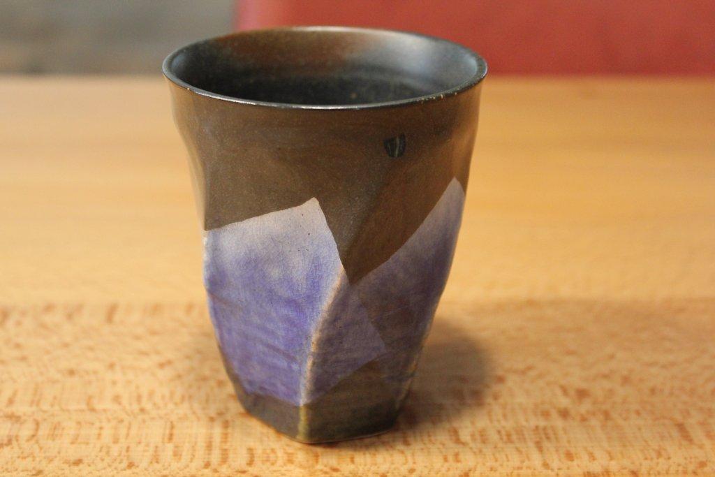 九谷焼 陶器の荒削り 焼酎グラス 銀彩
