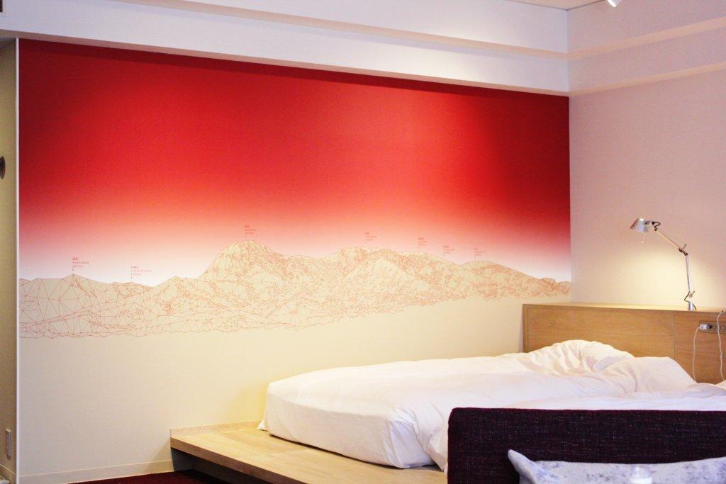 壁に描かれた山々